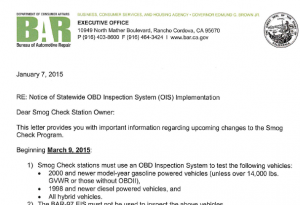Bureau of Automotive Repair Letter
